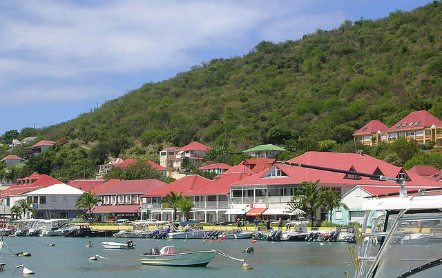 Gustavia - Business Buildings along Harbor
