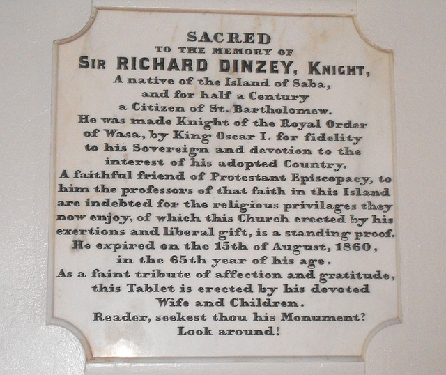 Gustavia - Richard Dinzey Memorial in Anglican Church