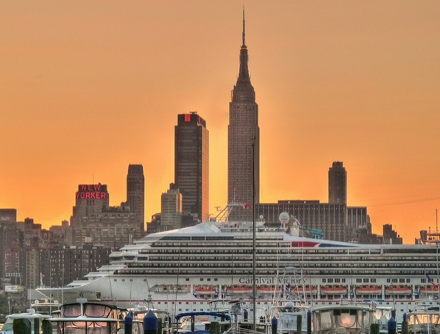 "Dawn.  ""Carnival Victory"" sailing up the Hudson River."