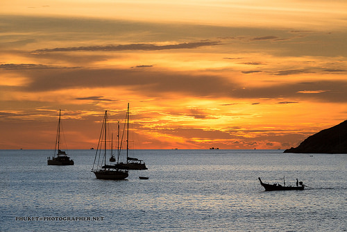 Sunset at yacht , Thailand-Malaysia